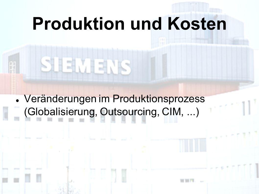 Produktion und Kosten Veränderungen im Produktionsprozess (Globalisierung, Outsourcing, CIM,...)