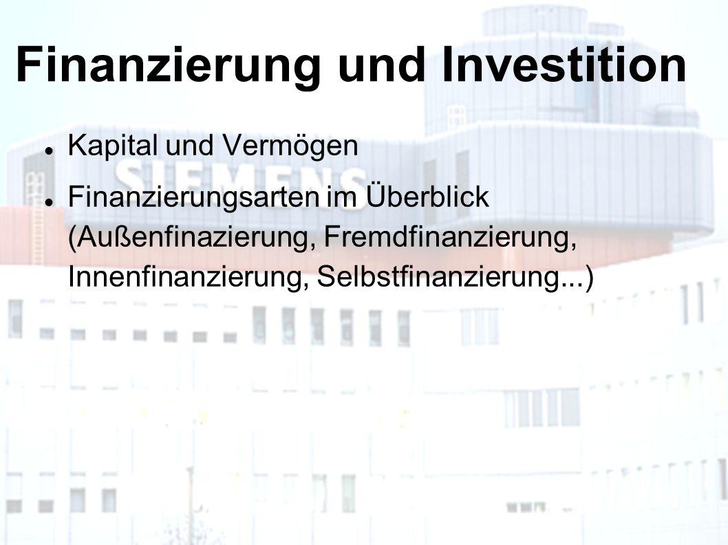 Finanzierung und Investition Kapital und Vermögen Finanzierungsarten im Überblick (Außenfinazierung, Fremdfinanzierung, Innenfinanzierung, Selbstfinanzierung...)