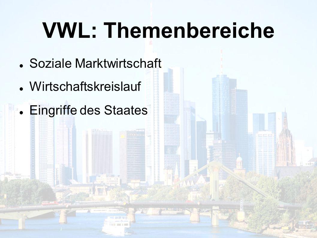 VWL: Themenbereiche Soziale Marktwirtschaft Wirtschaftskreislauf Eingriffe des Staates