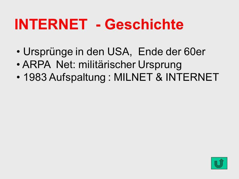 INTERNET - Geschichte Ursprünge in den USA, Ende der 60er ARPA Net: militärischer Ursprung 1983 Aufspaltung : MILNET & INTERNET
