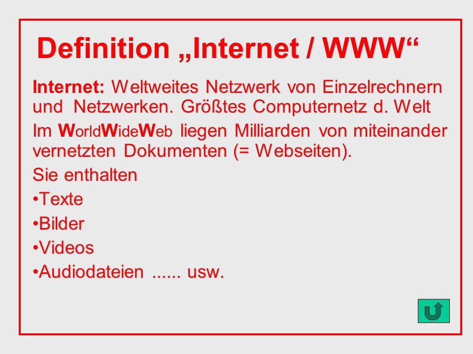 Internet: Weltweites Netzwerk von Einzelrechnern und Netzwerken.