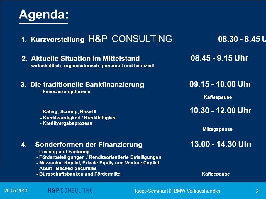 26.05.2014 2 Agenda: 1. Kurzvorstellung H&P CONSULTING 08.30 - 8.45 Uhr 2. Aktuelle Situation im Mittelstand 08.45 - 9.15 Uhr wirtschaftlich, organisa