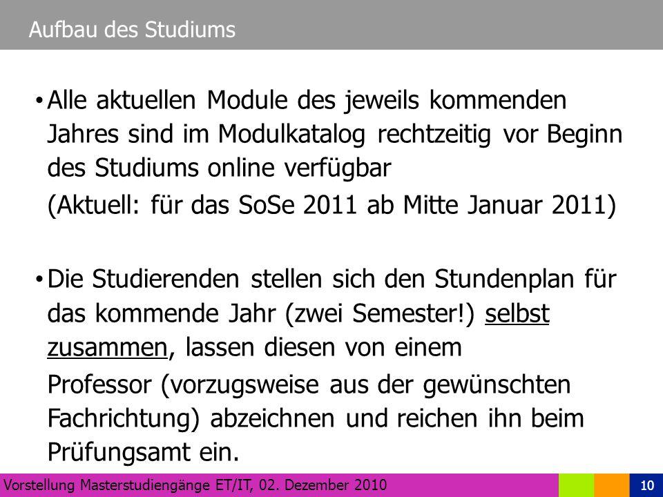 10 Aufbau des Studiums Vorstellung Masterstudiengänge ET/IT, 02.