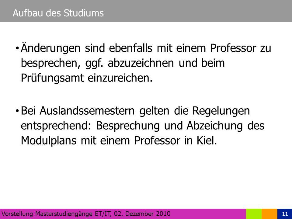 11 Aufbau des Studiums Vorstellung Masterstudiengänge ET/IT, 02.