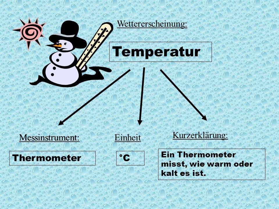 Wettererscheinung: Temperatur Messinstrument:EinheitMessinstrument: Kurzerklärung: Ein Thermometer misst, wie warm oder kalt es ist.