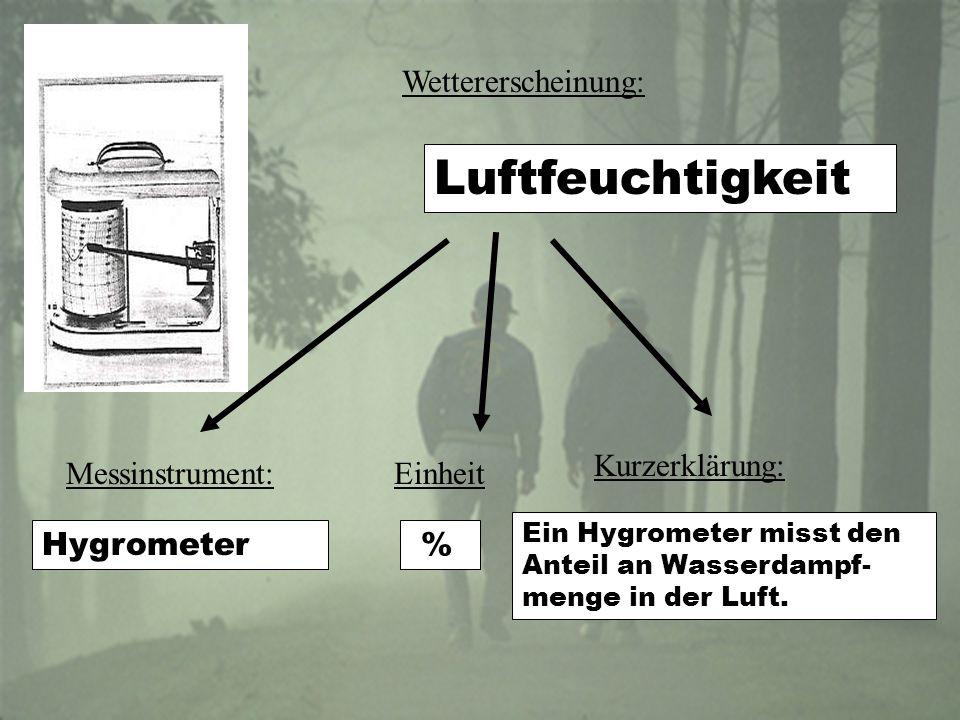 Wettererscheinung: Luftfeuchtigkeit EinheitMessinstrument: Kurzerklärung: Ein Hygrometer misst den Anteil an Wasserdampf- menge in der Luft.