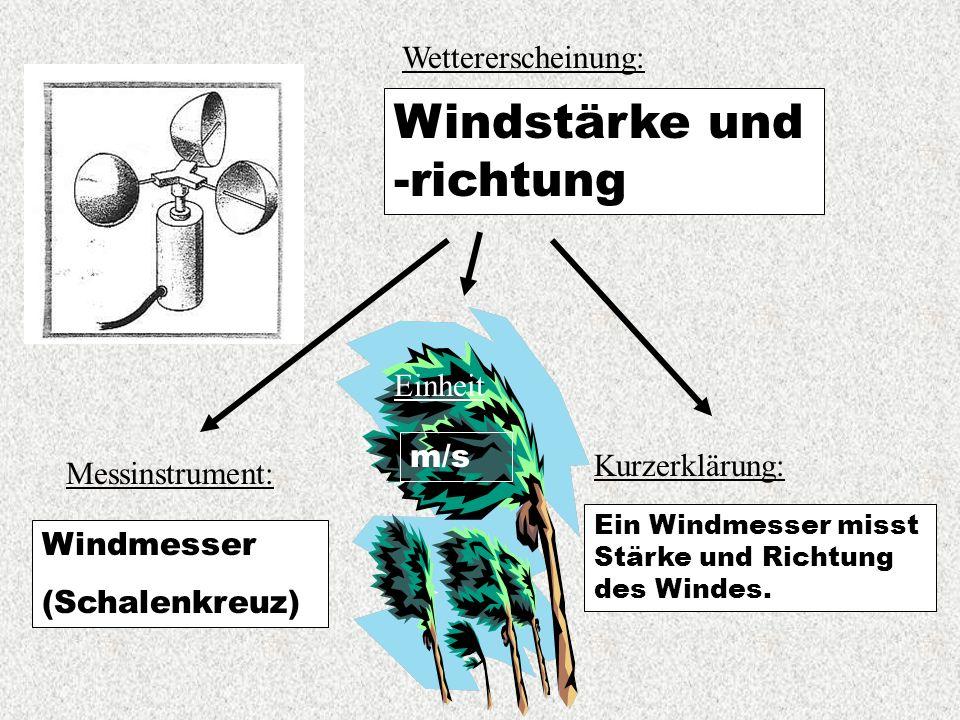 Wettererscheinung: Windstärke und -richtung Messinstrument: Kurzerklärung: Ein Windmesser misst Stärke und Richtung des Windes.