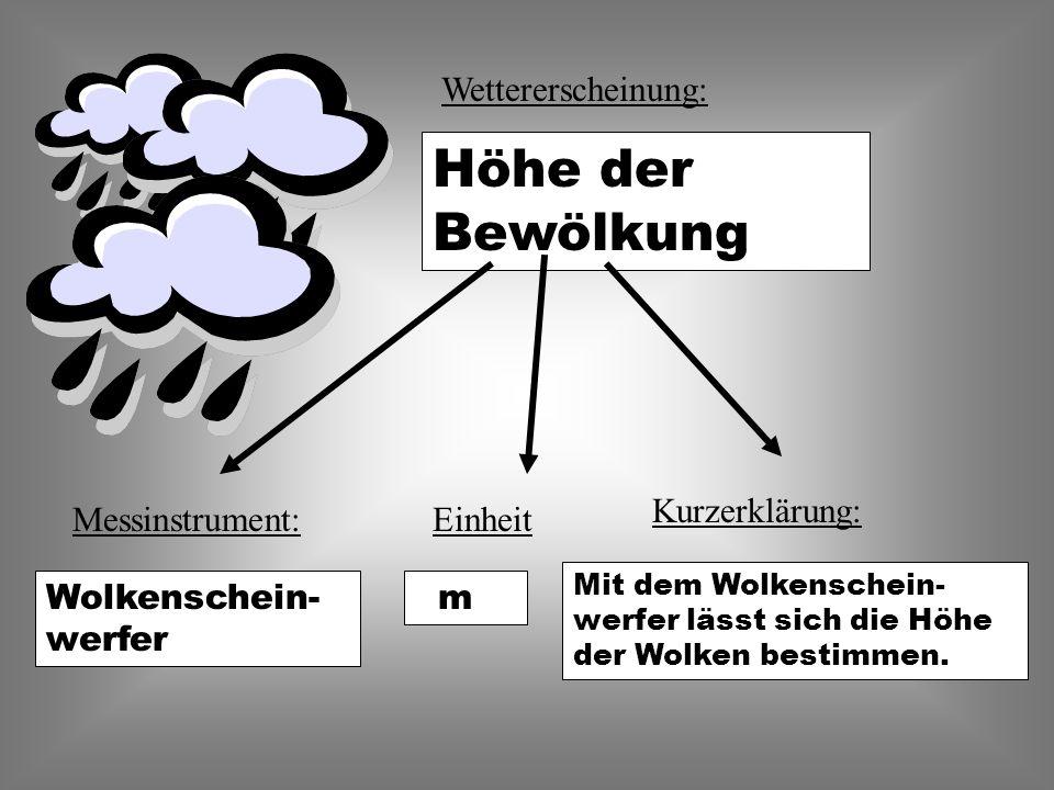 Wettererscheinung: Höhe der Bewölkung EinheitMessinstrument: Kurzerklärung: Mit dem Wolkenschein- werfer lässt sich die Höhe der Wolken bestimmen.