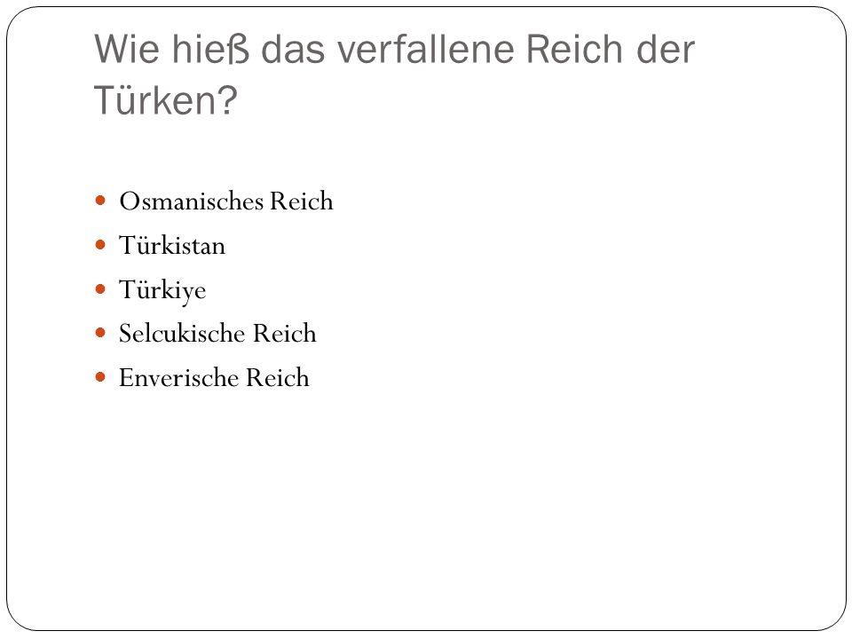 Wie hieß das verfallene Reich der Türken? Osmanisches Reich Türkistan Türkiye Selcukische Reich Enverische Reich