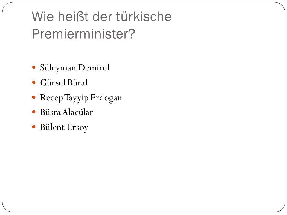 Wie heißt der Präsident? Orhan Pamuk Abdullah Gül Ahmet Necded Sezer Harun Yahya Bülent Ecevit
