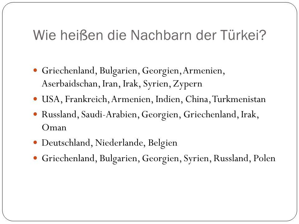 Wie heißen die Nachbarn der Türkei? Griechenland, Bulgarien, Georgien, Armenien, Aserbaidschan, Iran, Irak, Syrien, Zypern USA, Frankreich, Armenien,
