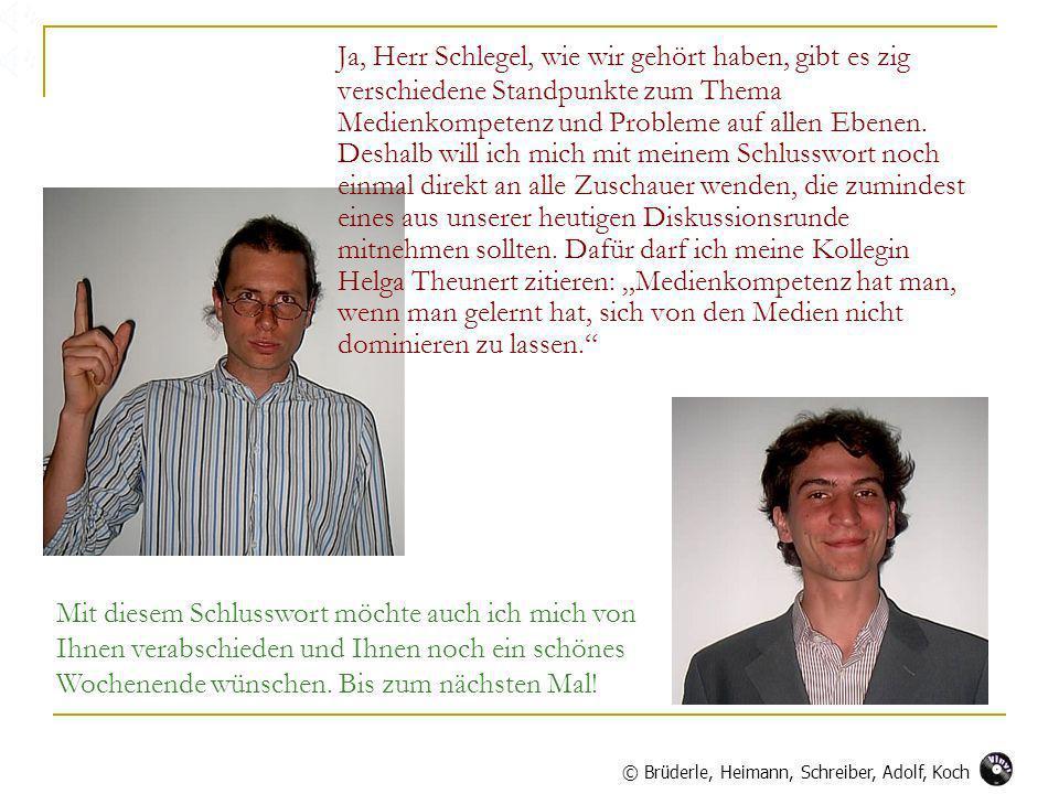 Ja, Herr Schlegel, wie wir gehört haben, gibt es zig verschiedene Standpunkte zum Thema Medienkompetenz und Probleme auf allen Ebenen.