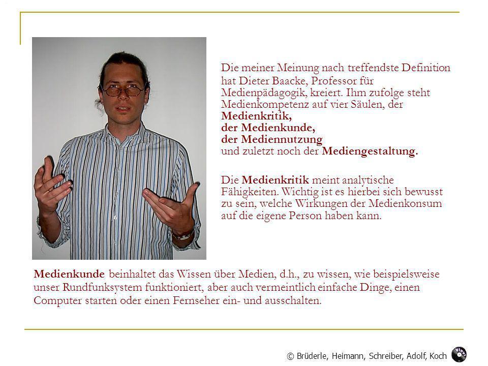 Die meiner Meinung nach treffendste Definition hat Dieter Baacke, Professor für Medienpädagogik, kreiert. Ihm zufolge steht Medienkompetenz auf vier S