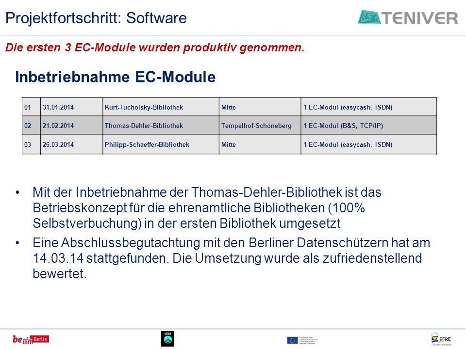Die ersten 3 EC-Module wurden produktiv genommen. 0131.01.2014Kurt-Tucholsky-BibliothekMitte1 EC-Modul (easycash, ISDN) 0221.02.2014Thomas-Dehler-Bibl