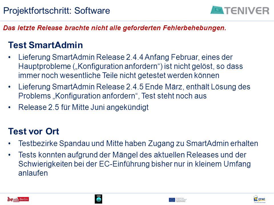 Test SmartAdmin Lieferung SmartAdmin Release 2.4.4 Anfang Februar, eines der Hauptprobleme (Konfiguration anfordern) ist nicht gelöst, so dass immer n