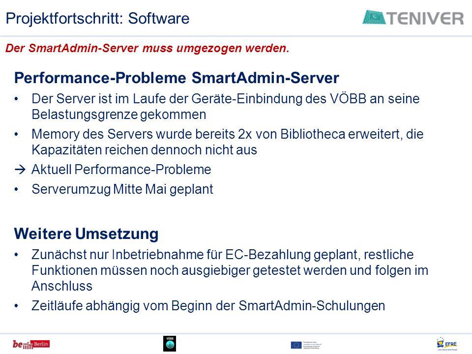 Performance-Probleme SmartAdmin-Server Der Server ist im Laufe der Geräte-Einbindung des VÖBB an seine Belastungsgrenze gekommen Memory des Servers wu