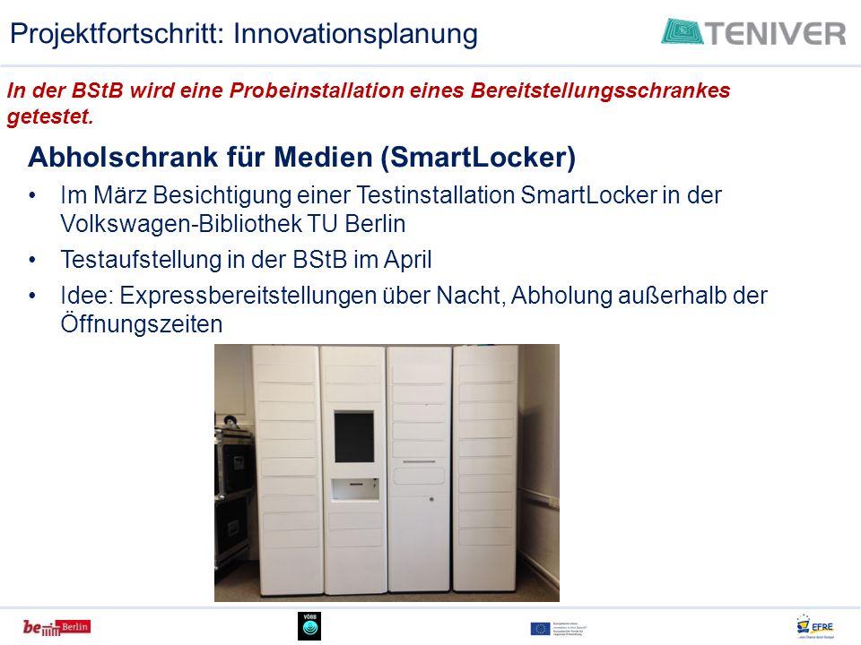 Abholschrank für Medien (SmartLocker) Im März Besichtigung einer Testinstallation SmartLocker in der Volkswagen-Bibliothek TU Berlin Testaufstellung i