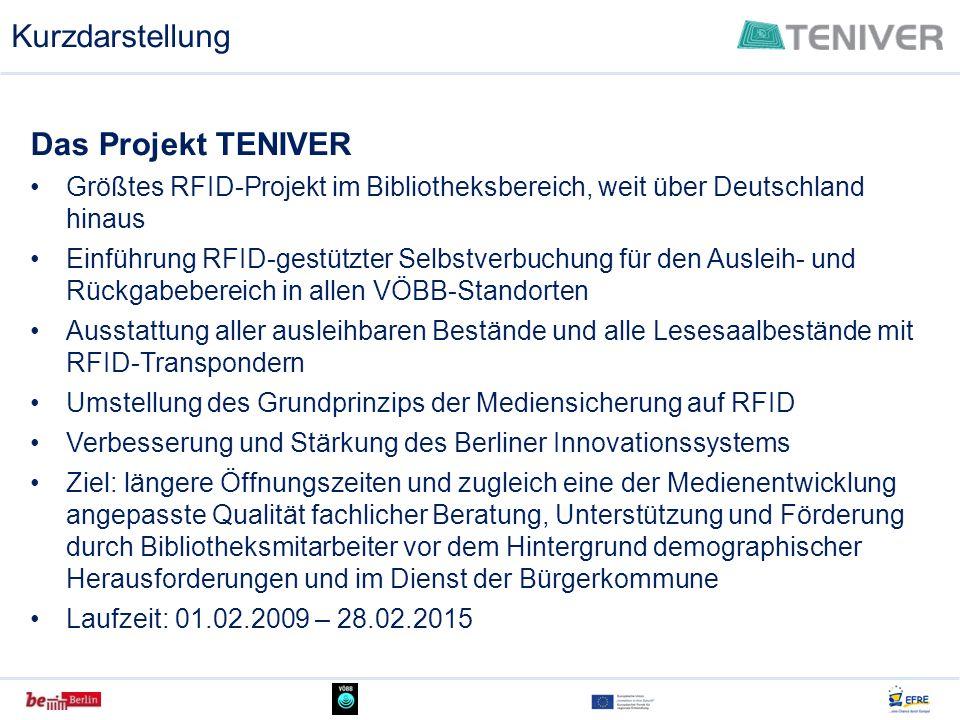 Kurzdarstellung Das Projekt TENIVER Größtes RFID-Projekt im Bibliotheksbereich, weit über Deutschland hinaus Einführung RFID-gestützter Selbstverbuchu