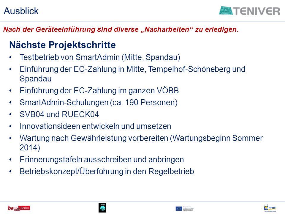 Nächste Projektschritte Testbetrieb von SmartAdmin (Mitte, Spandau) Einführung der EC-Zahlung in Mitte, Tempelhof-Schöneberg und Spandau Einführung de