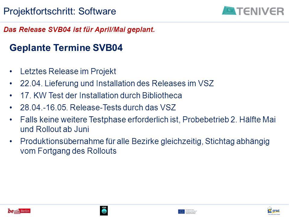 Geplante Termine SVB04 Letztes Release im Projekt 22.04. Lieferung und Installation des Releases im VSZ 17. KW Test der Installation durch Bibliotheca