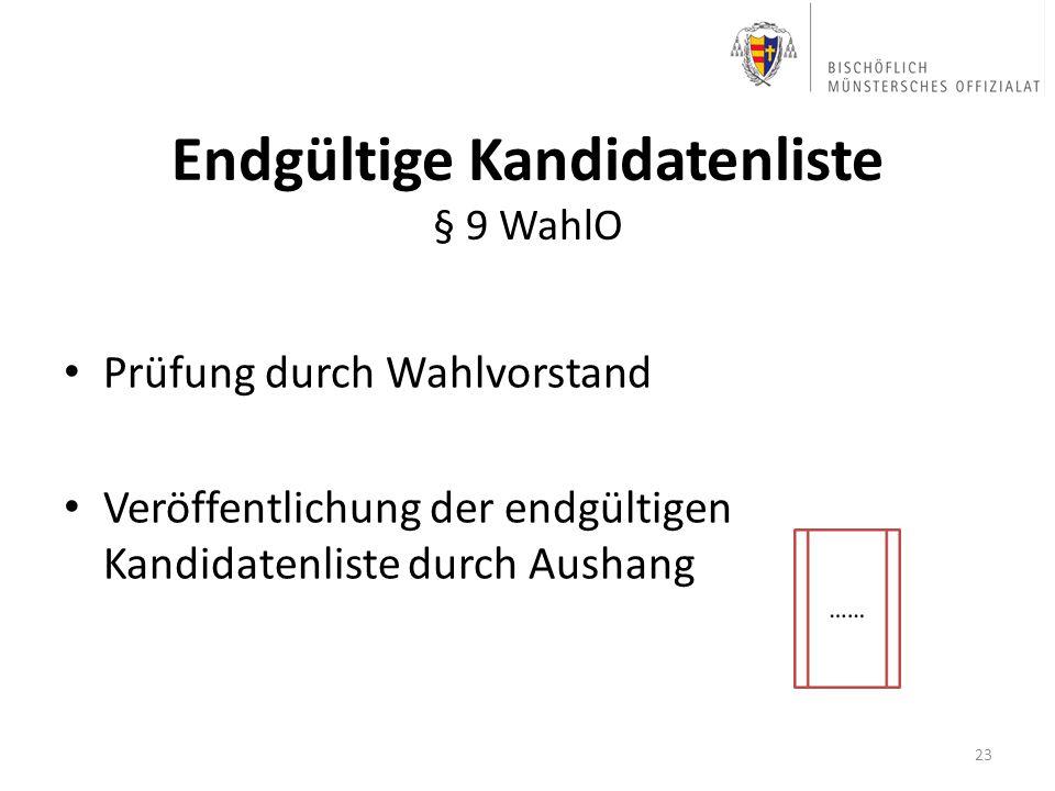 Endgültige Kandidatenliste § 9 WahlO Prüfung durch Wahlvorstand Veröffentlichung der endgültigen Kandidatenliste durch Aushang 23