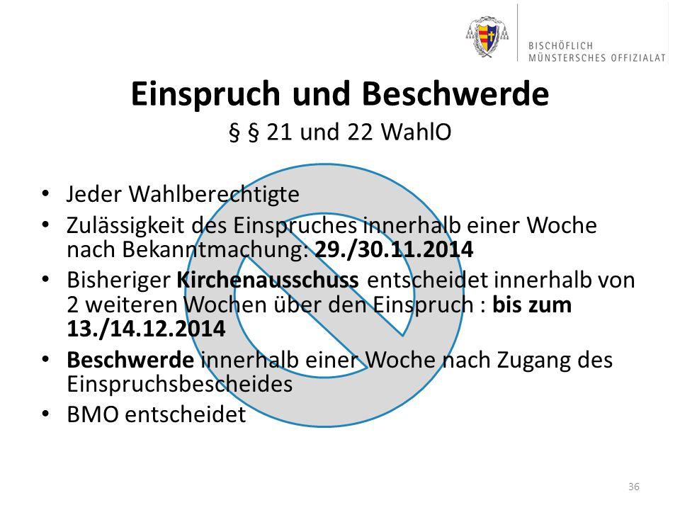 Jeder Wahlberechtigte Zulässigkeit des Einspruches innerhalb einer Woche nach Bekanntmachung: 29./30.11.2014 Bisheriger Kirchenausschuss entscheidet i