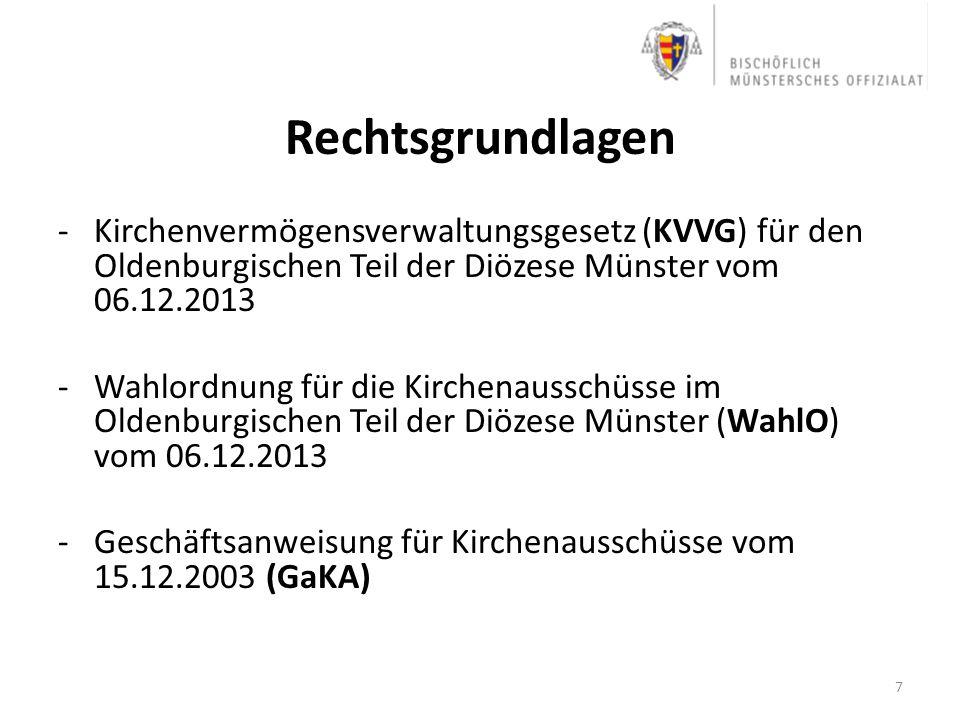 Rechtsgrundlagen -Kirchenvermögensverwaltungsgesetz (KVVG) für den Oldenburgischen Teil der Diözese Münster vom 06.12.2013 -Wahlordnung für die Kirche