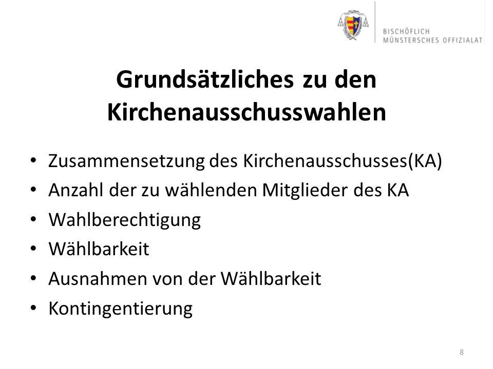 Grundsätzliches zu den Kirchenausschusswahlen Zusammensetzung des Kirchenausschusses(KA) Anzahl der zu wählenden Mitglieder des KA Wahlberechtigung Wä