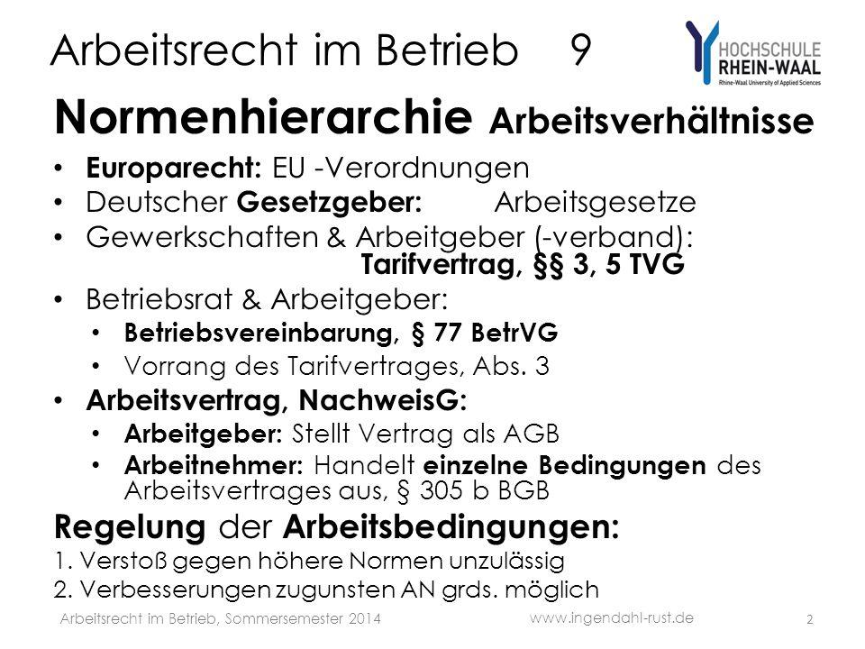 Arbeitsrecht im Betrieb 9 Normenhierarchie Arbeitsverhältnisse Europarecht: EU -Verordnungen Deutscher Gesetzgeber: Arbeitsgesetze Gewerkschaften & Ar