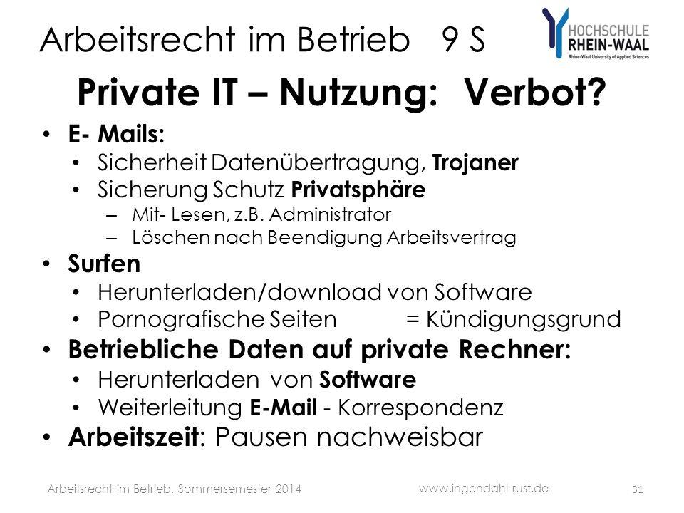 Arbeitsrecht im Betrieb 9 S Private IT – Nutzung: Verbot? E- Mails: Sicherheit Datenübertragung, Trojaner Sicherung Schutz Privatsphäre – Mit- Lesen,