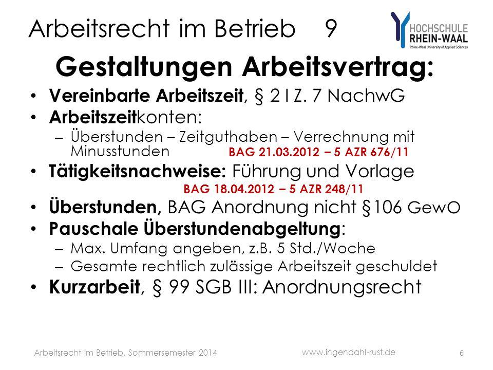 Arbeitsrecht im Betrieb 9 Gestaltungen Arbeitsvertrag: Befristung TzBefG, § 2 I Z.