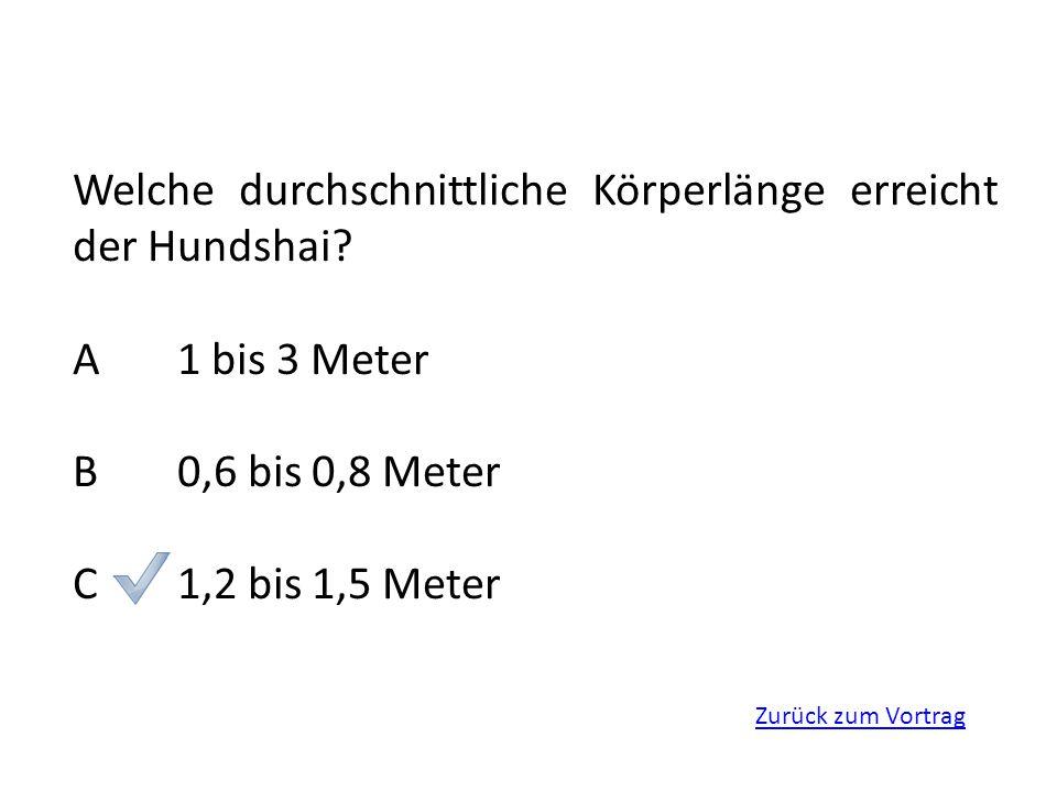 Zurück zum Vortrag Welche durchschnittliche Körperlänge erreicht der Hundshai? A1 bis 3 Meter B0,6 bis 0,8 Meter C1,2 bis 1,5 Meter