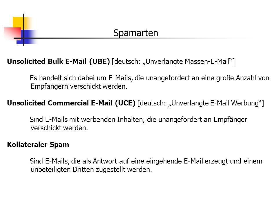 Spamarten Unsolicited Bulk E-Mail (UBE) [deutsch: Unverlangte Massen-E-Mail] Es handelt sich dabei um E-Mails, die unangefordert an eine große Anzahl