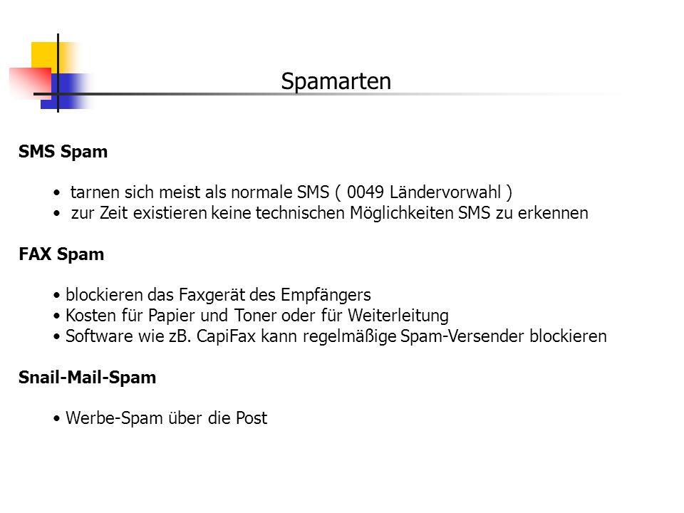 Spamarten SMS Spam tarnen sich meist als normale SMS ( 0049 Ländervorwahl ) zur Zeit existieren keine technischen Möglichkeiten SMS zu erkennen FAX Sp