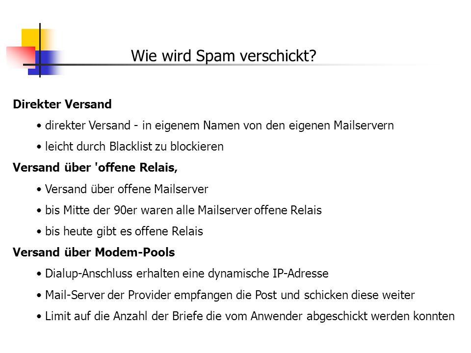 Wie wird Spam verschickt? Direkter Versand direkter Versand - in eigenem Namen von den eigenen Mailservern leicht durch Blacklist zu blockieren Versan