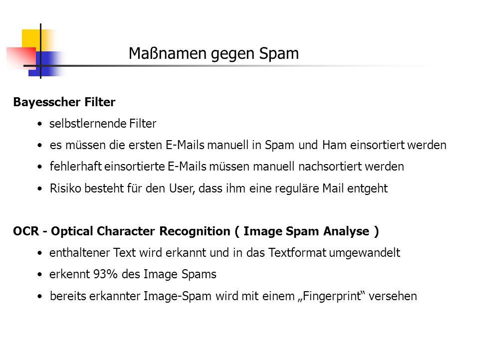 Maßnamen gegen Spam Bayesscher Filter selbstlernende Filter es müssen die ersten E-Mails manuell in Spam und Ham einsortiert werden fehlerhaft einsort
