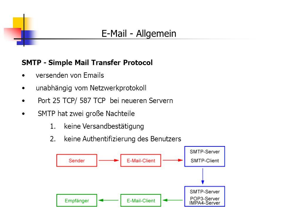 E-Mail - Allgemein SMTP - Simple Mail Transfer Protocol versenden von Emails unabhängig vom Netzwerkprotokoll Port 25 TCP/ 587 TCP bei neueren Servern