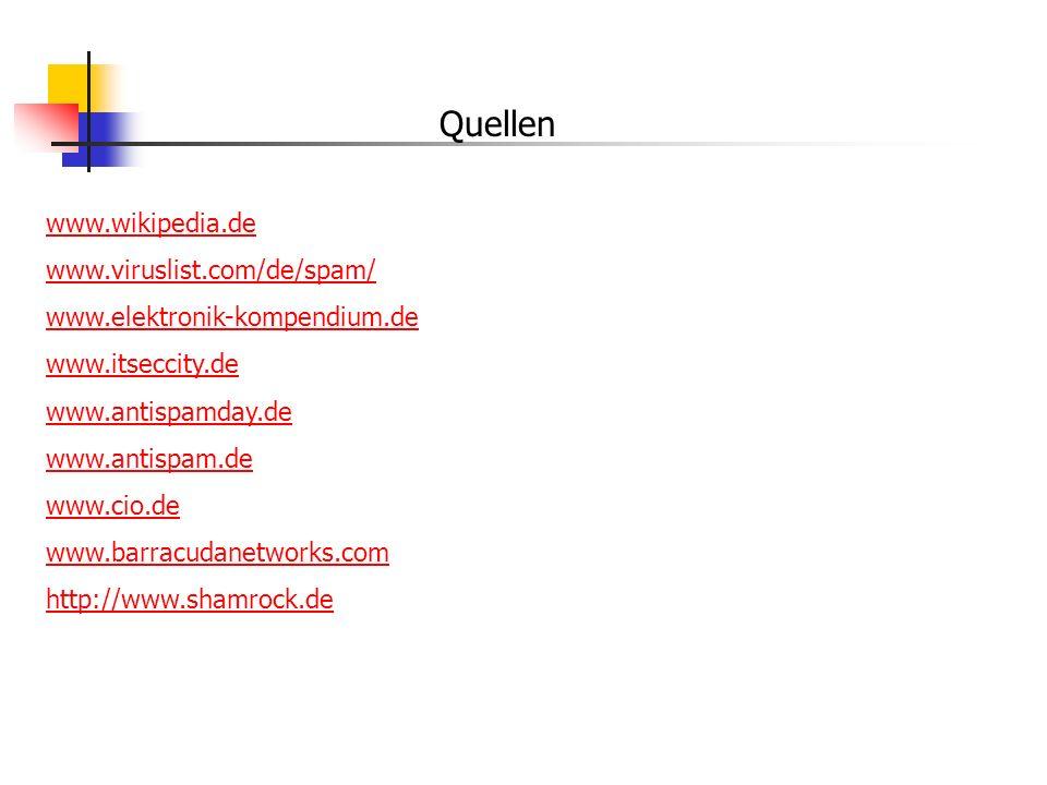 Quellen www.wikipedia.de www.viruslist.com/de/spam/ www.elektronik-kompendium.de www.itseccity.de www.antispamday.de www.antispam.de www.cio.de www.ba