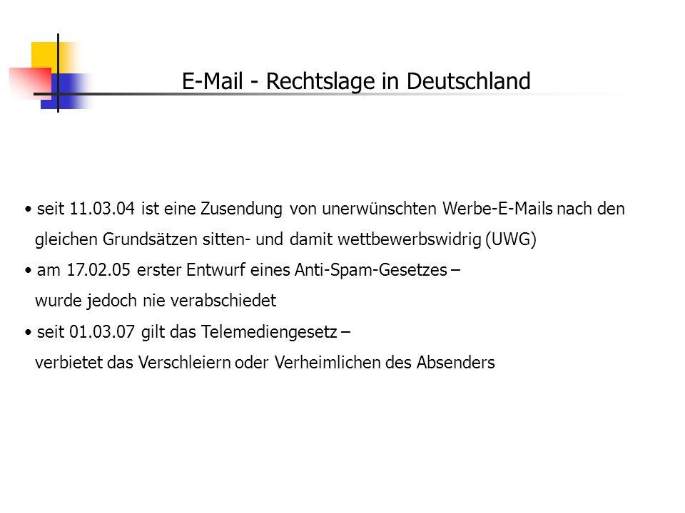 E-Mail - Rechtslage in Deutschland seit 11.03.04 ist eine Zusendung von unerwünschten Werbe-E-Mails nach den gleichen Grundsätzen sitten- und damit we
