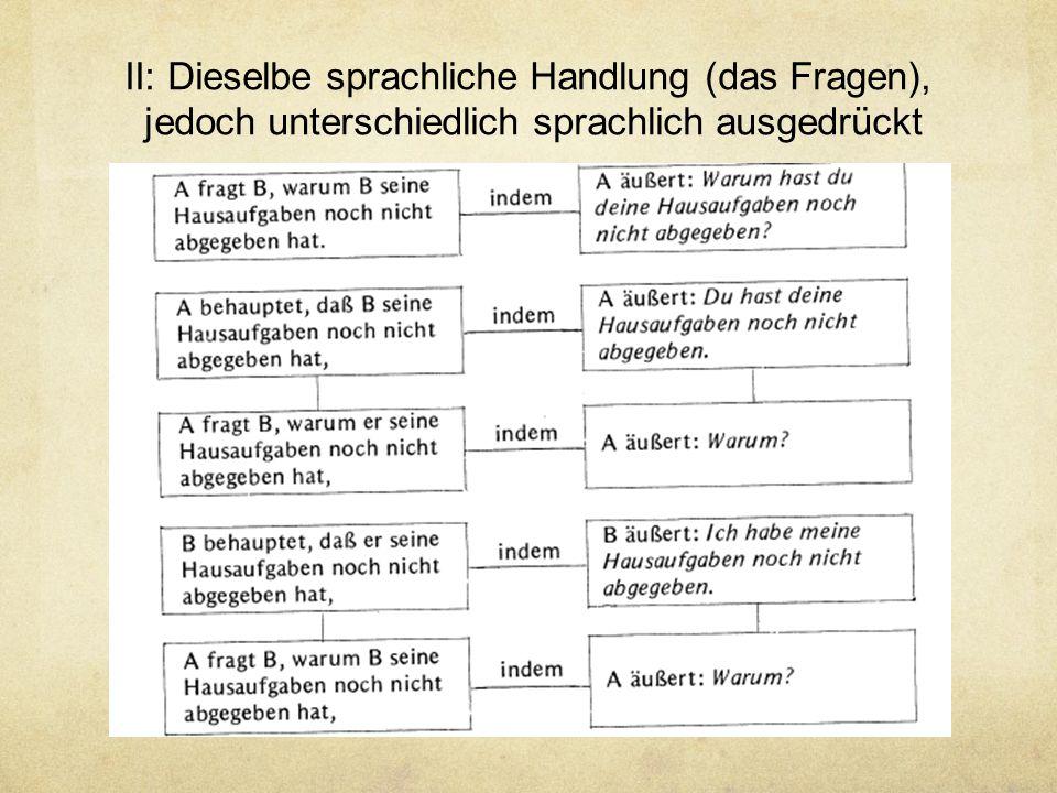 II: Dieselbe sprachliche Handlung (das Fragen), jedoch unterschiedlich sprachlich ausgedrückt
