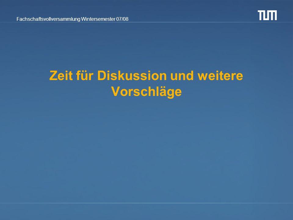 Fachschaftsvollversammlung Wintersemester 07/08 Zeit für Diskussion und weitere Vorschläge