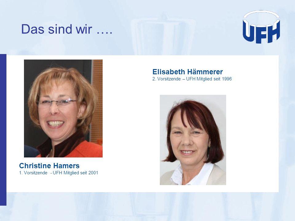 Das sind wir …. Christine Hamers 1. Vorsitzende - UFH Mitglied seit 2001 Elisabeth Hämmerer 2. Vorsitzende – UFH Mitglied seit 1996
