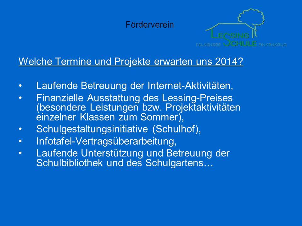 Förderverein Welche Termine und Projekte erwarten uns 2014? Laufende Betreuung der Internet-Aktivitäten, Finanzielle Ausstattung des Lessing-Preises (