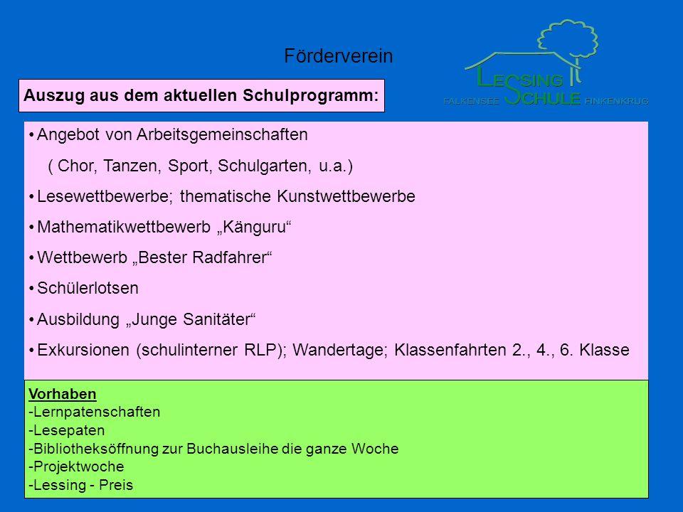 Förderverein Angebot von Arbeitsgemeinschaften ( Chor, Tanzen, Sport, Schulgarten, u.a.) Lesewettbewerbe; thematische Kunstwettbewerbe Mathematikwettb
