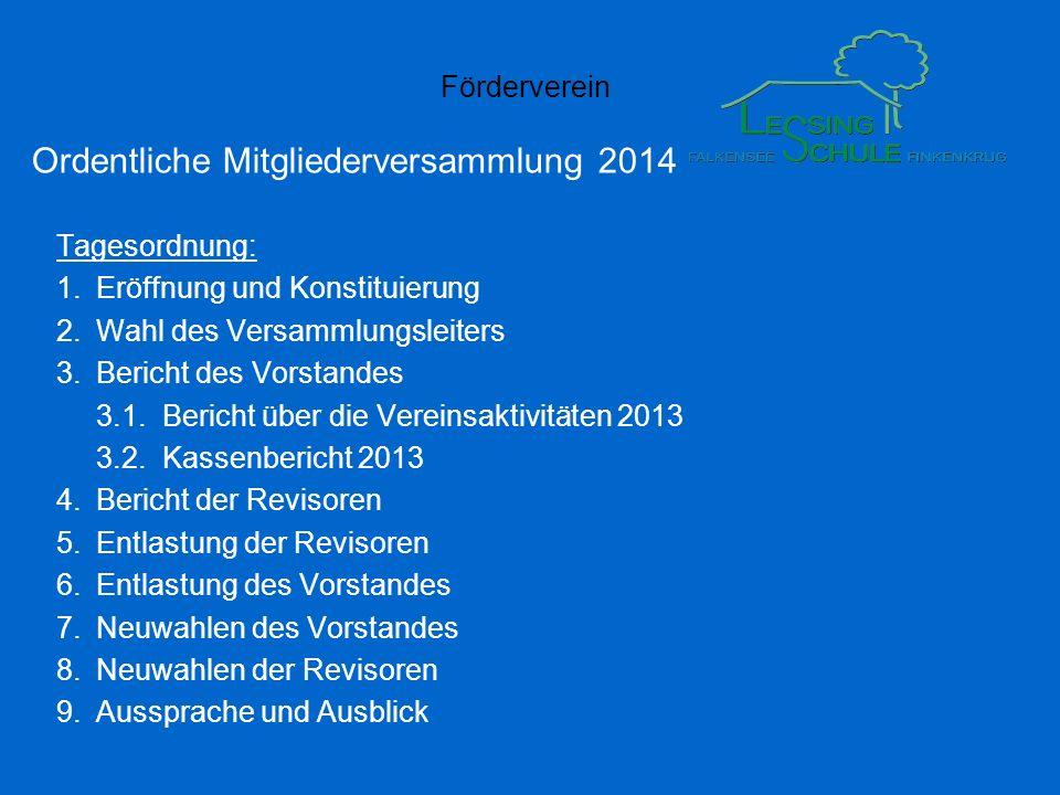 Förderverein Ordentliche Mitgliederversammlung 2014 Tagesordnung: 1.Eröffnung und Konstituierung 2.Wahl des Versammlungsleiters 3.Bericht des Vorstand