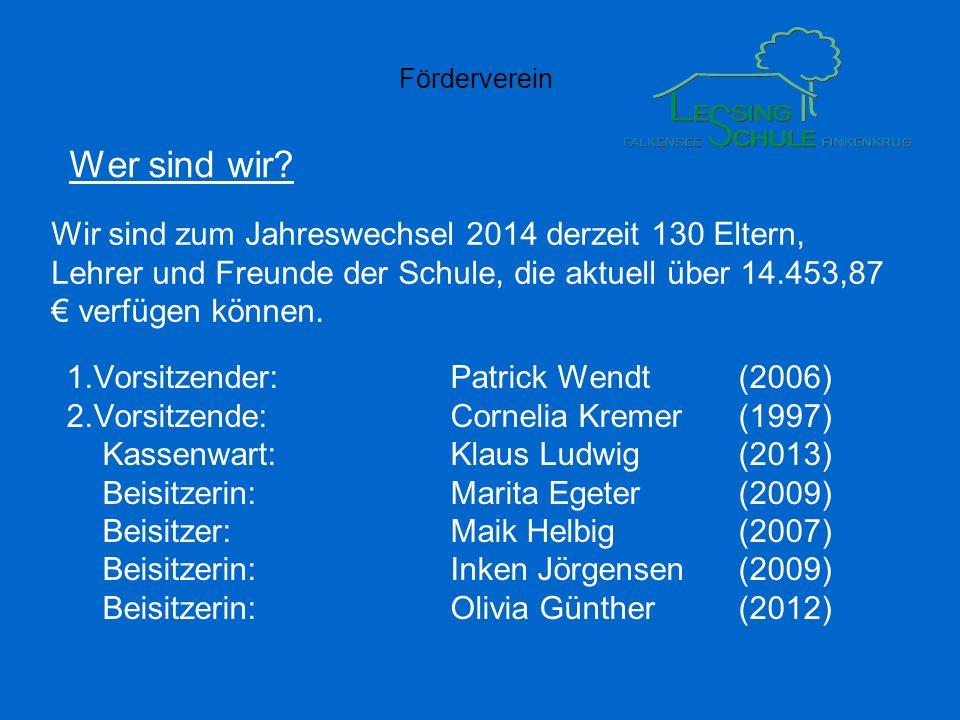 Förderverein Wer sind wir? 1.Vorsitzender:Patrick Wendt(2006) 2.Vorsitzende:Cornelia Kremer(1997) Kassenwart:Klaus Ludwig(2013) Beisitzerin:Marita Ege