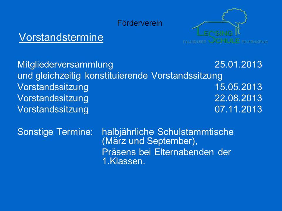 Förderverein Vorstandstermine Mitgliederversammlung25.01.2013 und gleichzeitig konstituierende Vorstandssitzung Vorstandssitzung15.05.2013 Vorstandssi