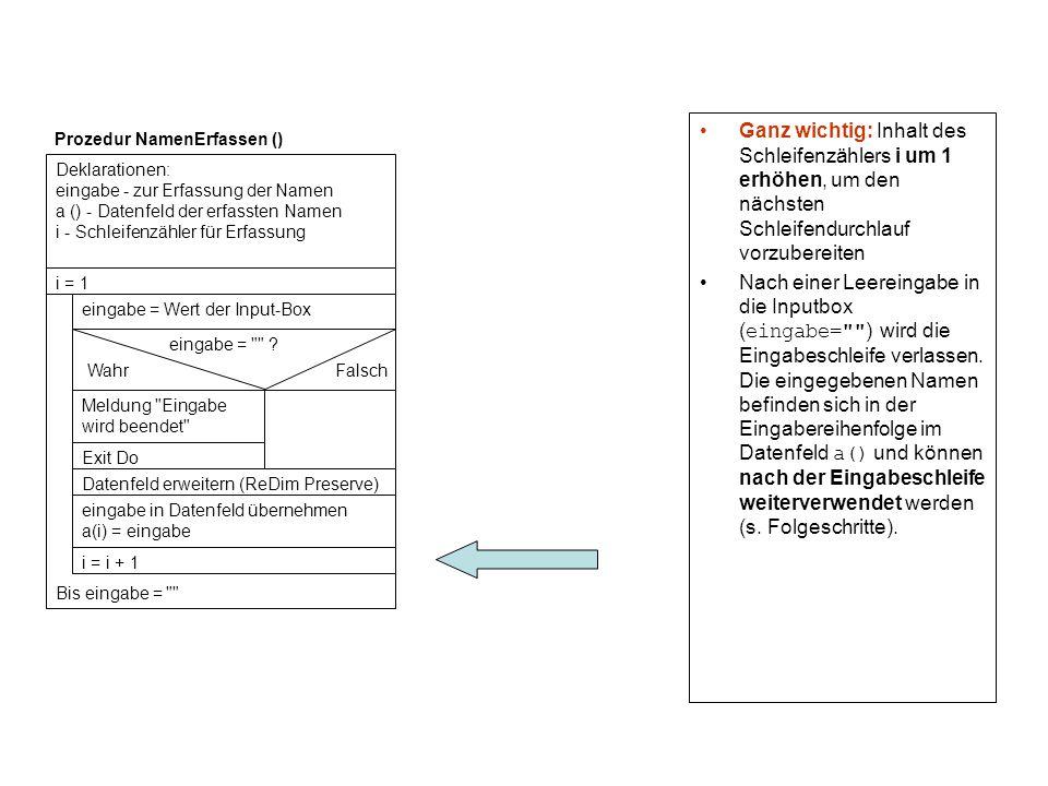 Ganz wichtig: Inhalt des Schleifenzählers i um 1 erhöhen, um den nächsten Schleifendurchlauf vorzubereiten Nach einer Leereingabe in die Inputbox ( ei
