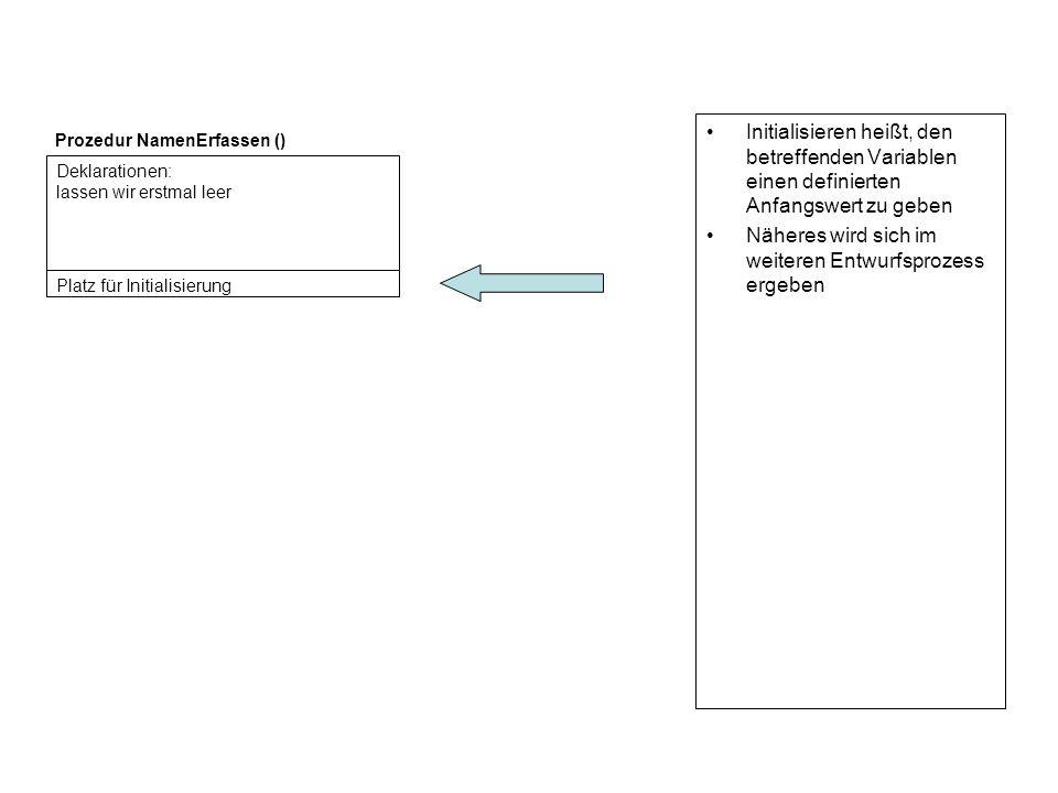 Initialisieren heißt, den betreffenden Variablen einen definierten Anfangswert zu geben Näheres wird sich im weiteren Entwurfsprozess ergeben Deklarat