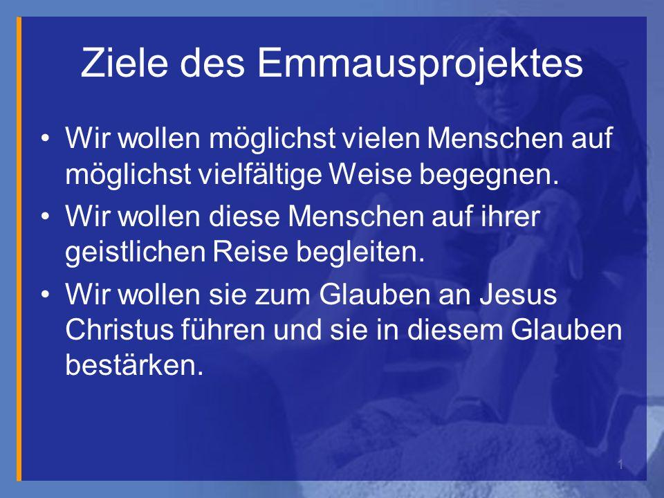 1 Ziele des Emmausprojektes Wir wollen möglichst vielen Menschen auf möglichst vielfältige Weise begegnen.